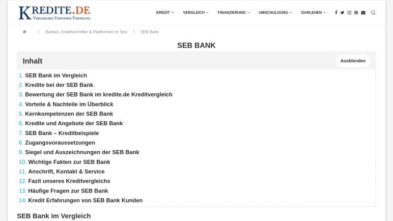 www.seb-bank.de Vorschau, SEB AG