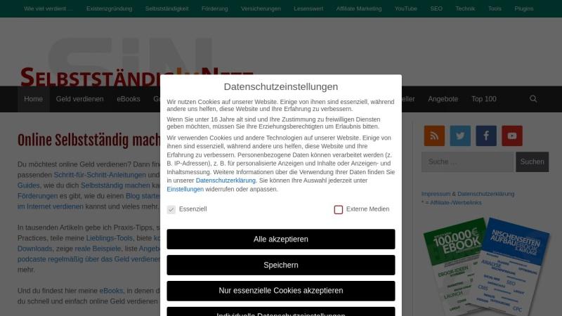 www.selbstaendig-im-netz.de Vorschau, Selbständig im Internet