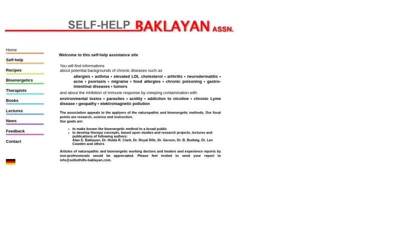 www.selbsthilfe-baklayan.com Vorschau, Institute for Bioenergetic Research - Selbsthilfe Alan E. Baklayan