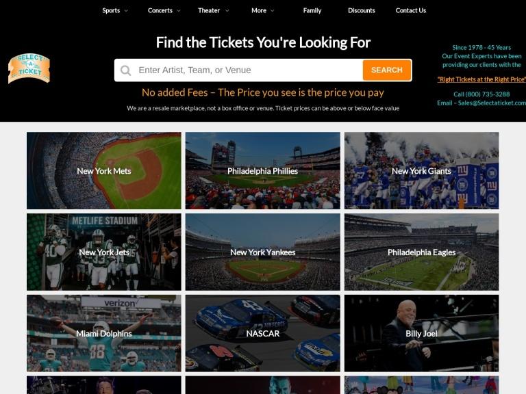 Select A Ticket screenshot