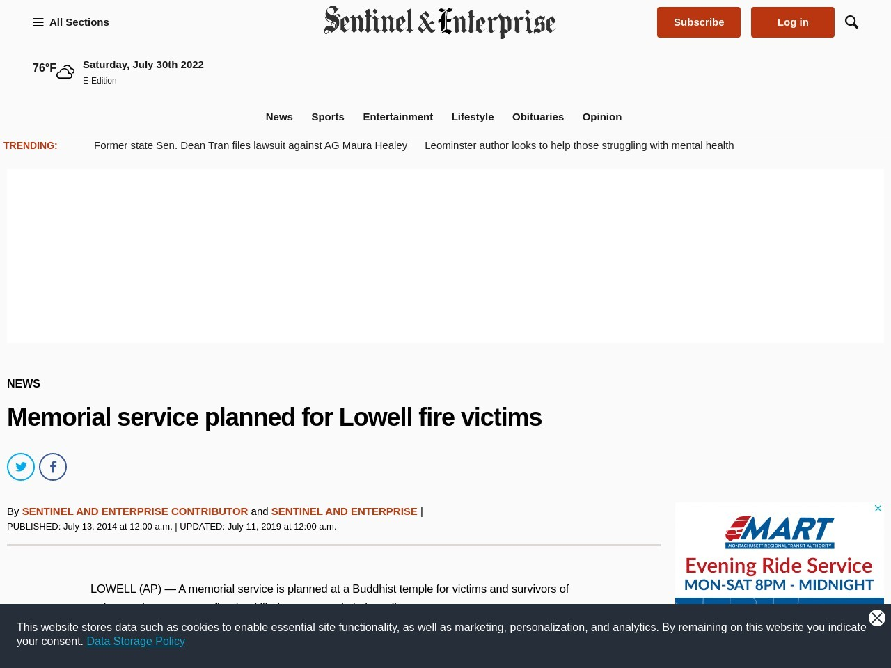 Memorial service planned for Lowell fire victims