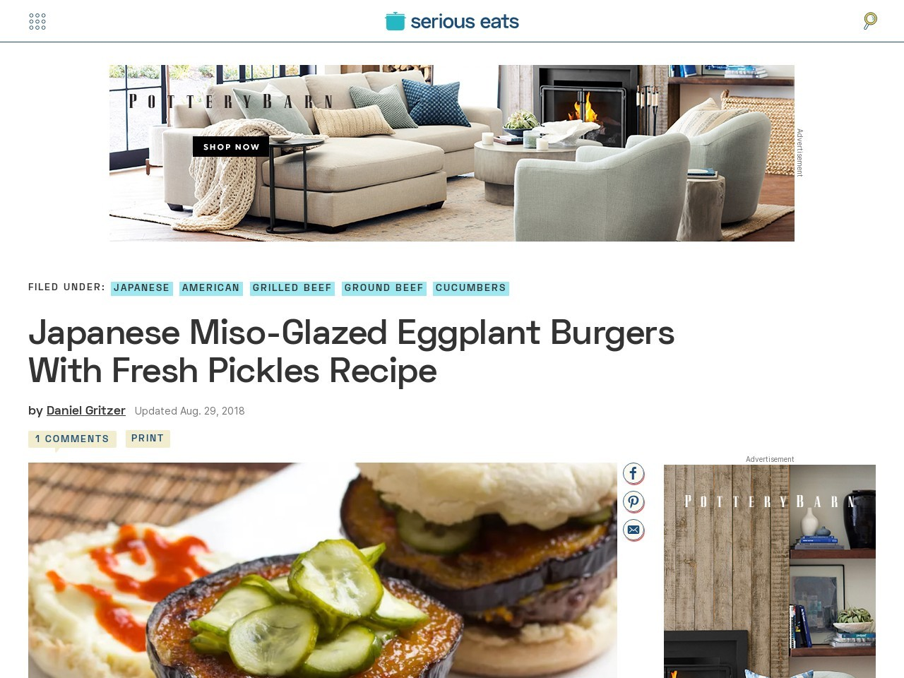 Japanese Miso-Glazed Eggplant Burgers With Fresh Pickles …