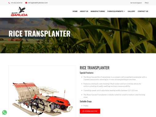 Agricultural Rice Transplanter Machine, Coimbatore – Sharp Garuda