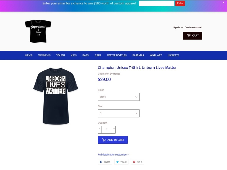 Shirts.com screenshot