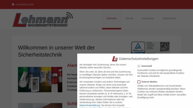 www.sicherheitstechnik-lehmann.de Vorschau, Sicherheitstechnik und Schlüsseldienst Lehmann