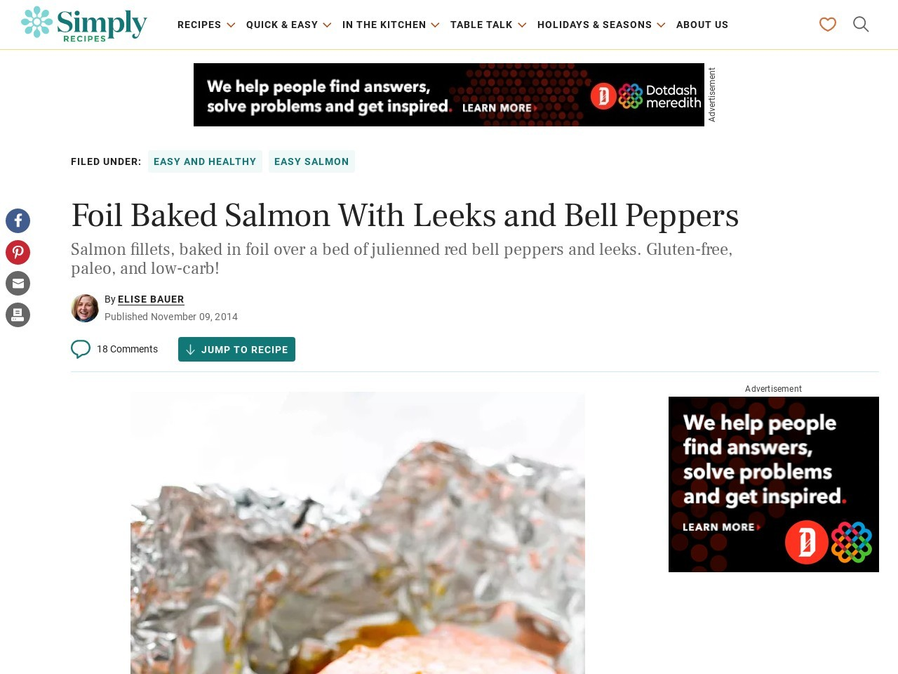 Foil Baked Salmon with Leeks and Bell Peppers Recipe …