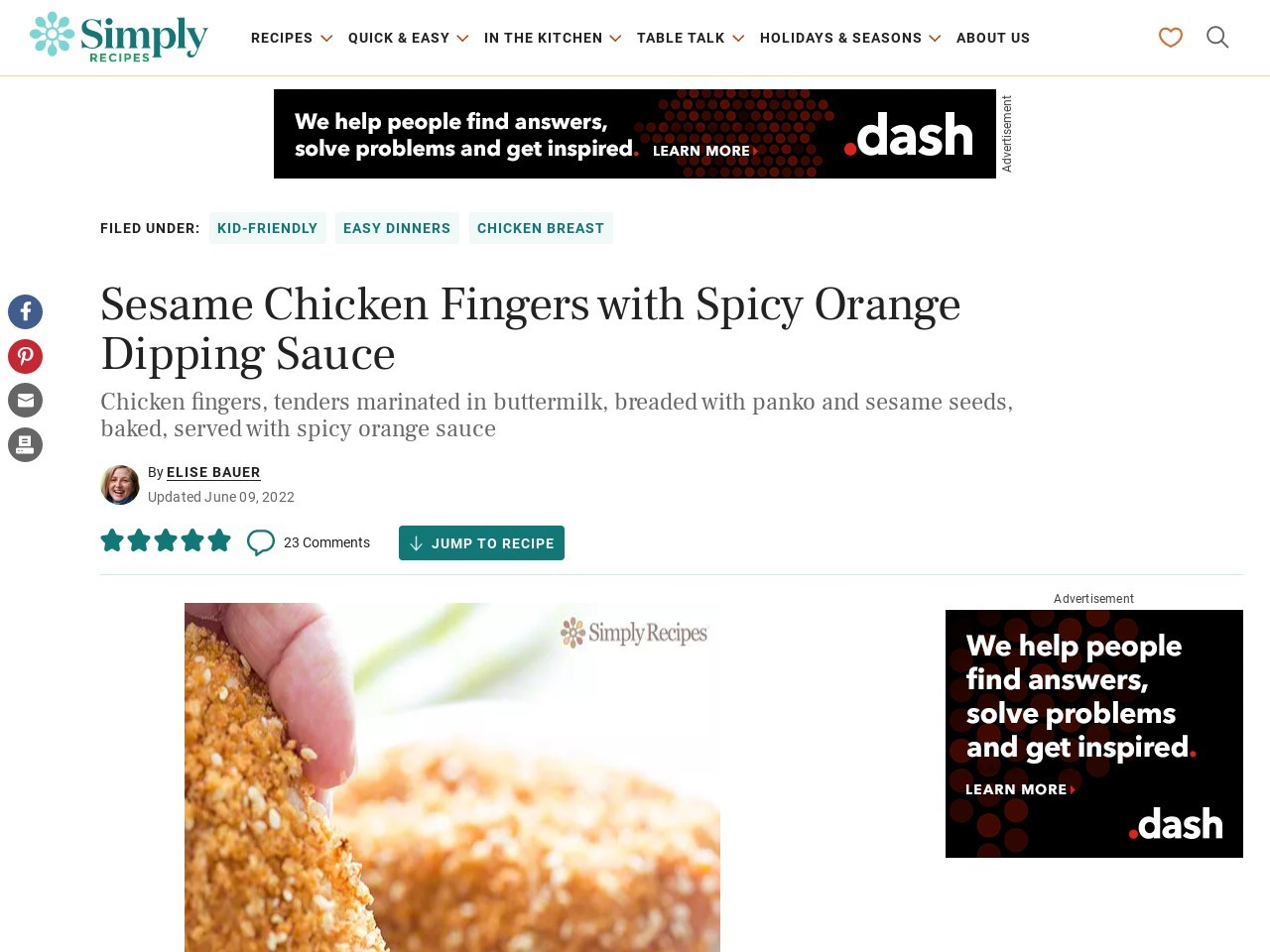 Sesame Chicken Fingers with Spicy Orange Dipping Sauce …