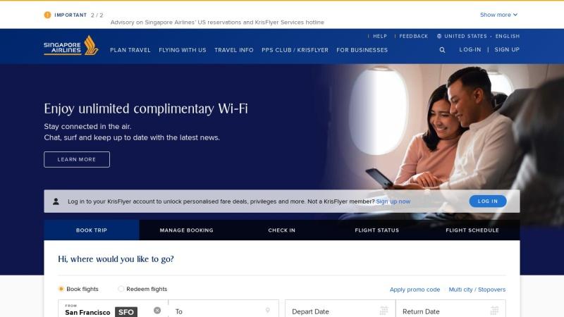 www.singaporeair.com Vorschau, Singapore Airlines