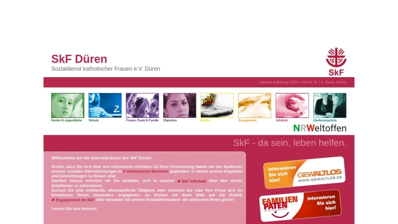 www.skf-dueren.de Vorschau, SkF Düren Sozialdienst katholischer Frauen e.V.