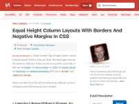 Equal Height Column Layouts with Borders and Negative Margins in CSS