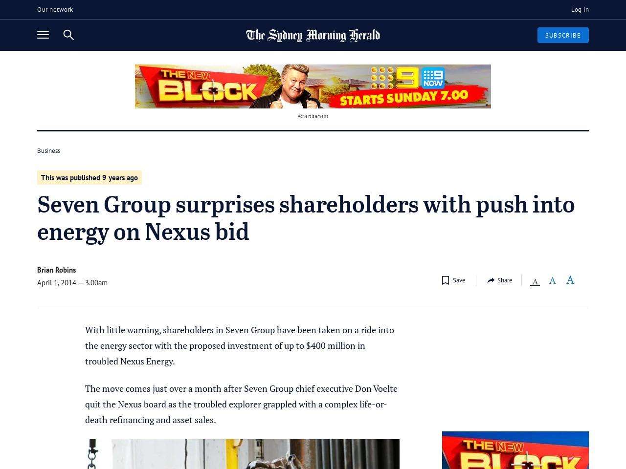 Seven Group surprises shareholders with push into energy on Nexus bid