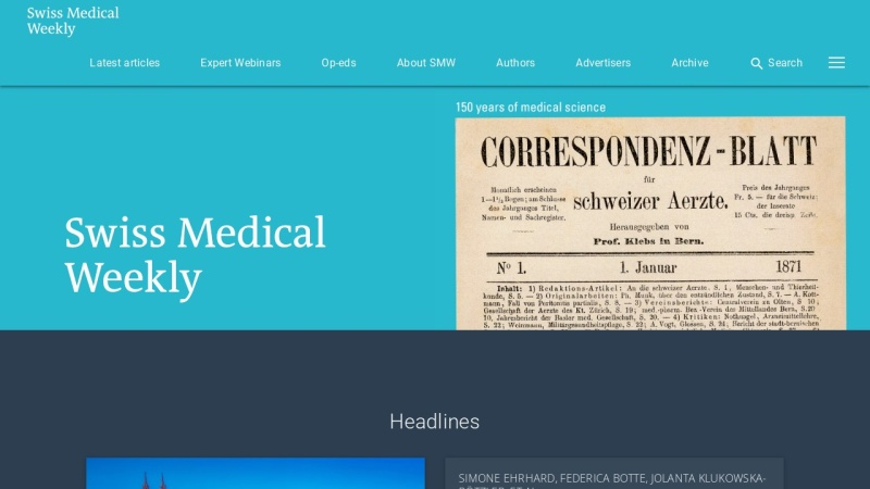 www.smw.ch Vorschau, Schweizerische Medizinische Wochenschrift