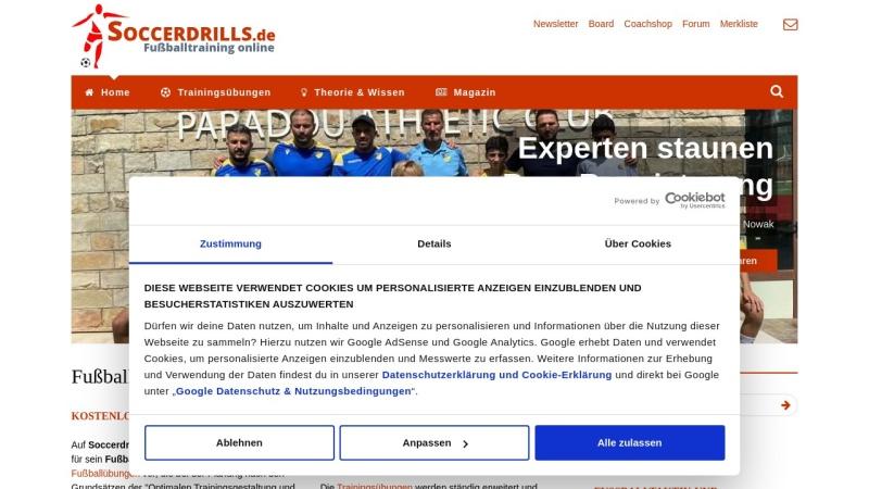 www.soccerdrills.de Vorschau, Animiertes Fußball-Training