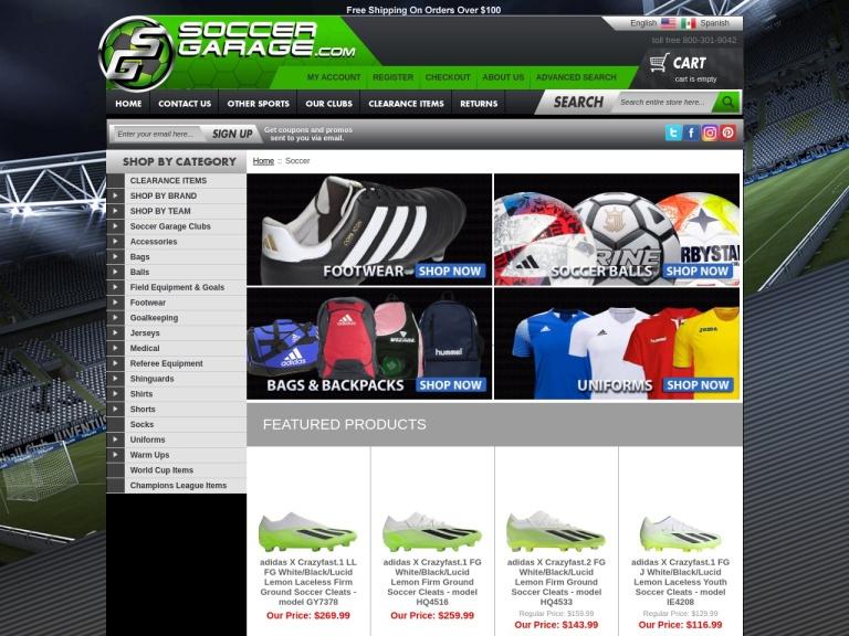 Soccergarage.com screenshot