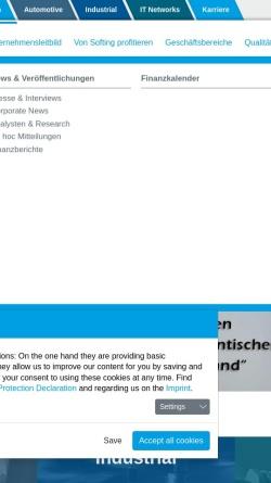 Vorschau der mobilen Webseite www.softing.de, Softing AG