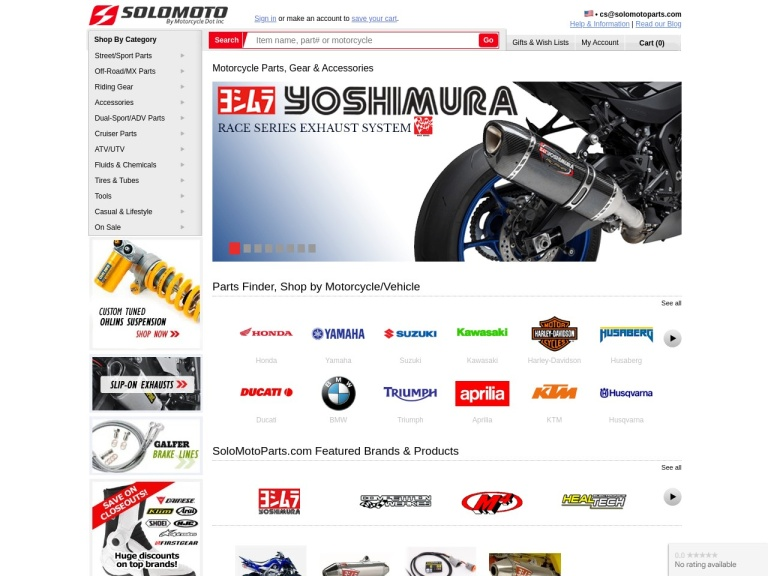 SoloMotoParts.com screenshot