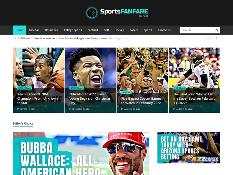 Sportsfanfare.com screenshot