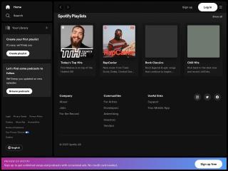Captura de pantalla para spotify.com