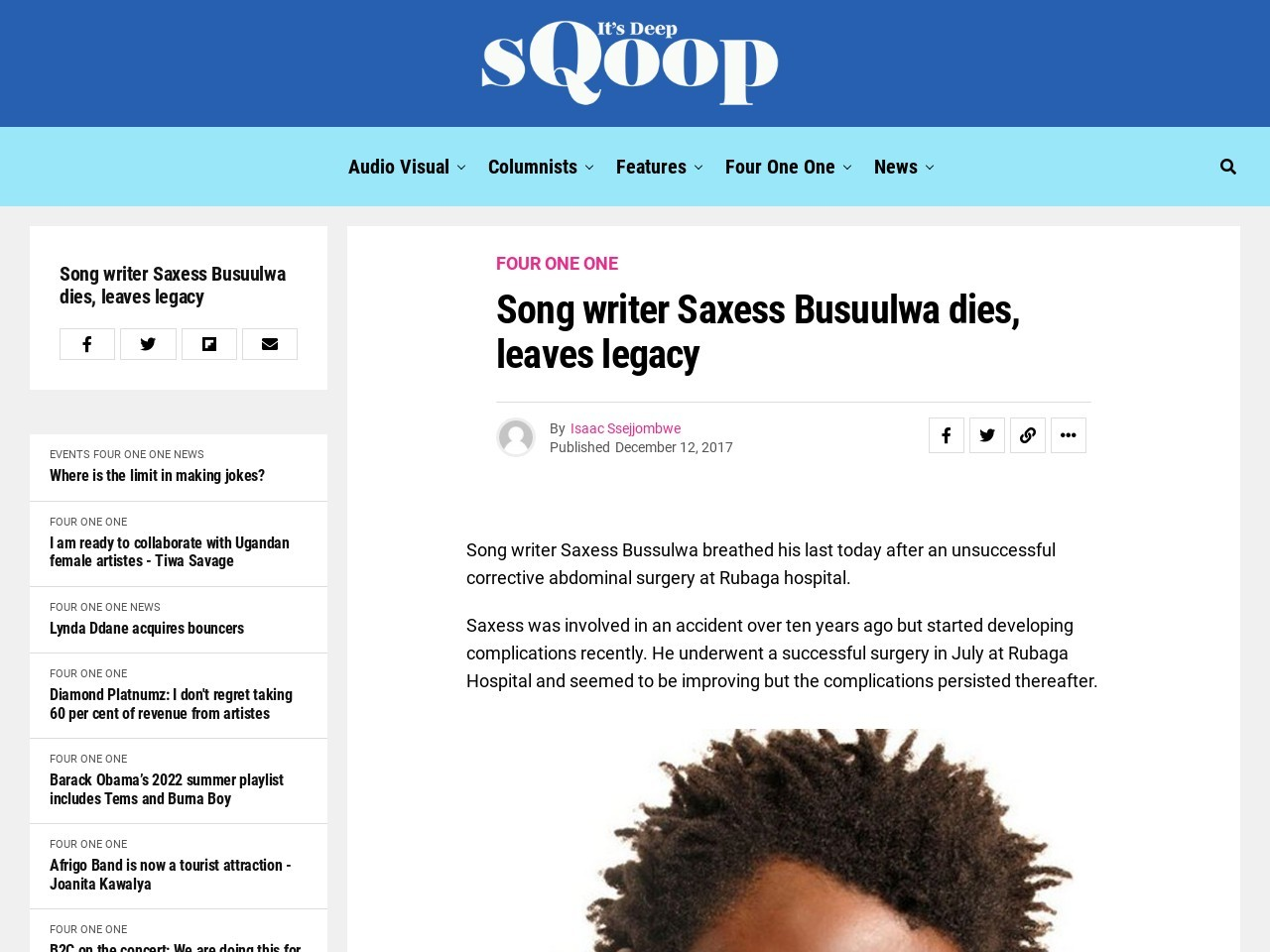 Song writer Saxess Busuulwa dies, leaves legacy