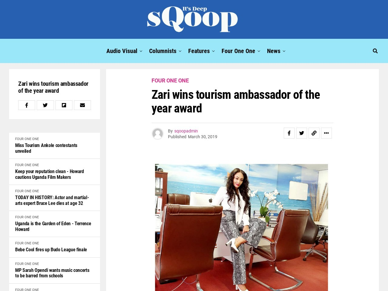 Zari wins tourism ambassador of the year award