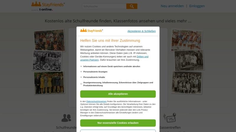 www.stayfriends.de Vorschau, StayFriends Deutschland
