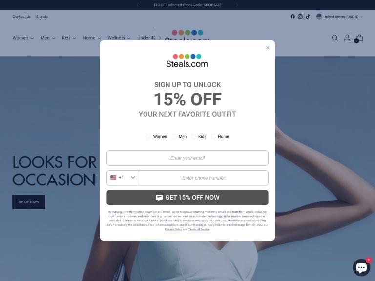 Steals.com screenshot