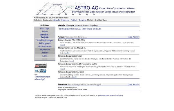 Vorschau von www.sternwarte-betzdorf.de, Astronomie-AG am Gymnasium Wissen/Sieg