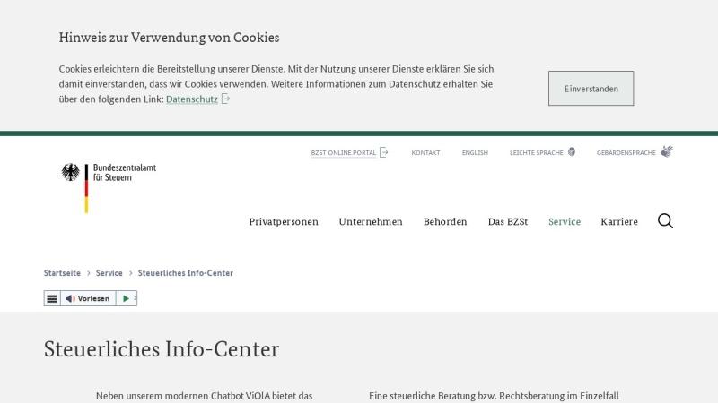 www.steuerliches-info-center.de Vorschau, Bundeszentralamt für Steuern