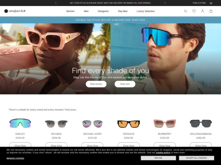 Sunglass Hut Uk screenshot