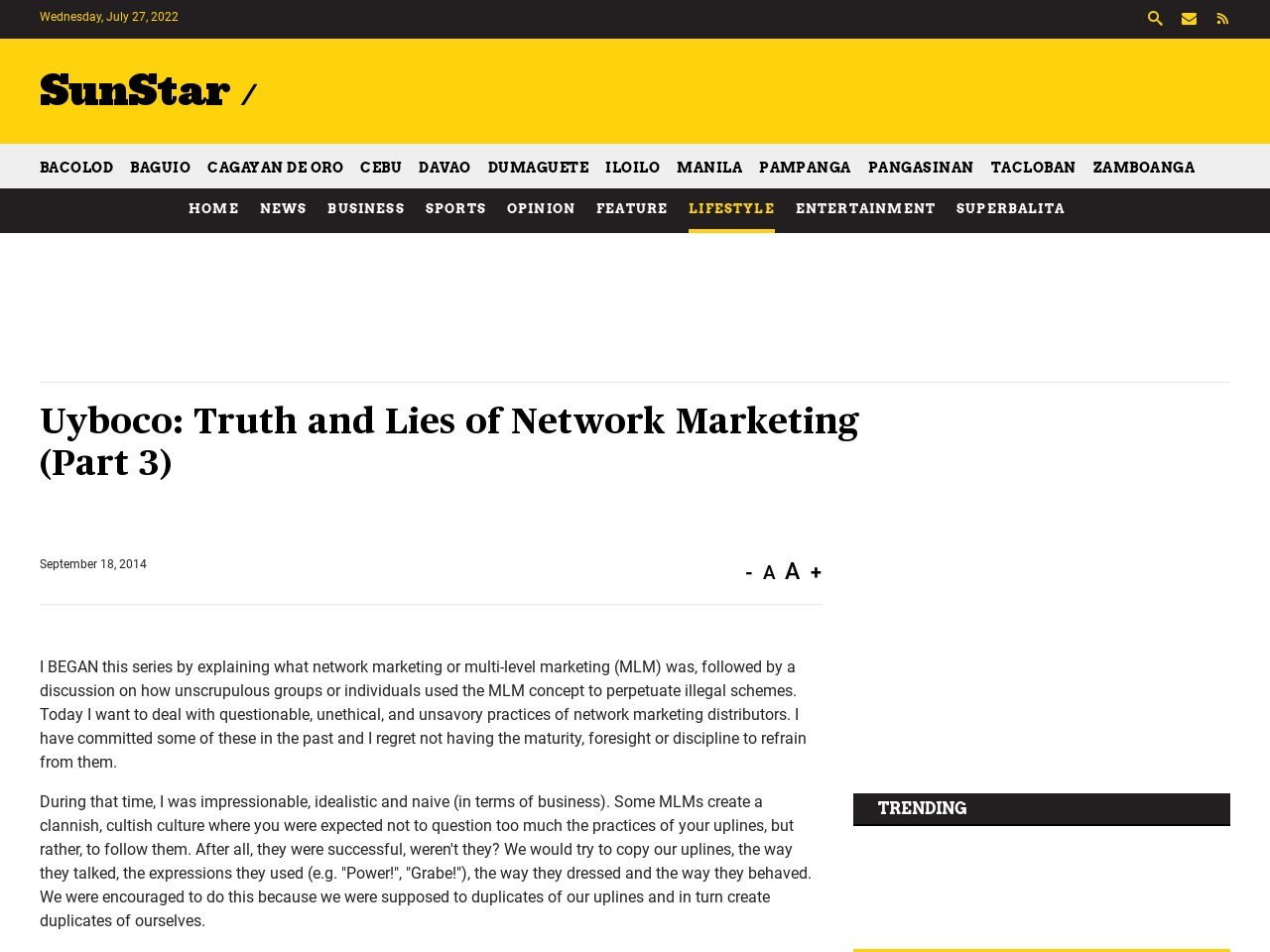 Truth and Lies of Network Marketing (Part 3)