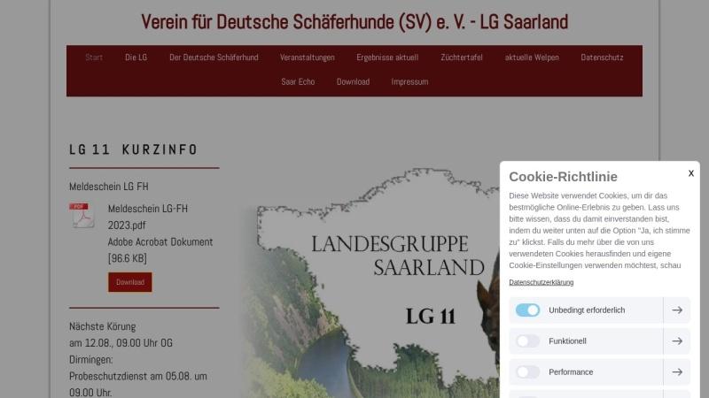 www.sv-lg-saarland.de Vorschau, SV Verein für Deutsche Schäferhunde e.V. LG Saarland