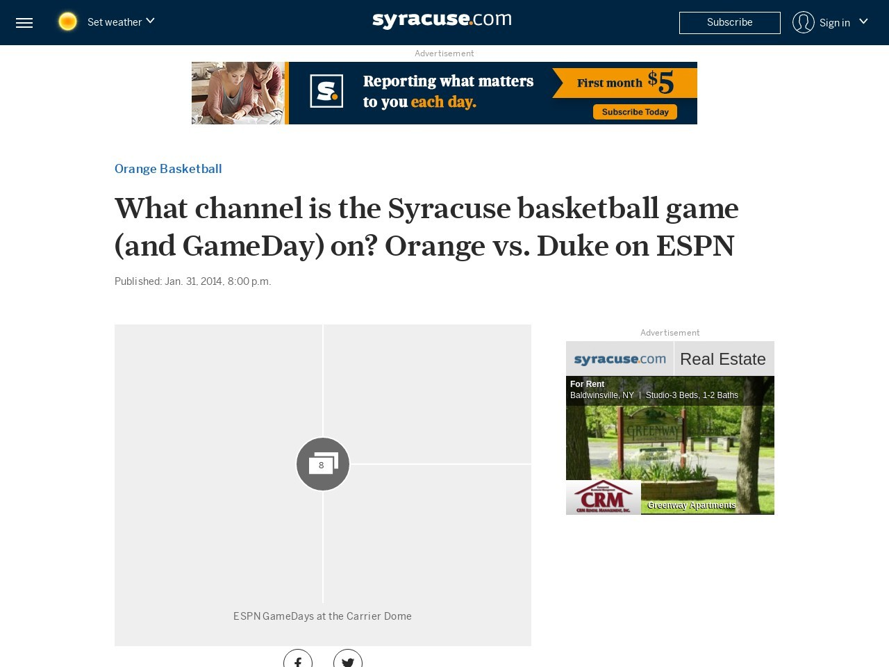 What channel is the Syracuse basketball game (and GameDay) on? Orange vs …