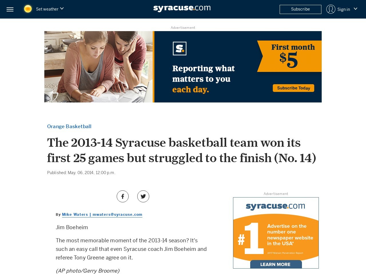 The 2013-14 Syracuse basketball team won its first 25 games but struggled to …
