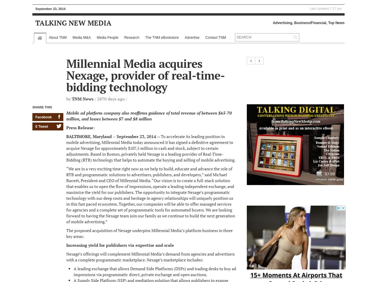 Millennial Media acquires Nexage, provider of real-time-bidding technology