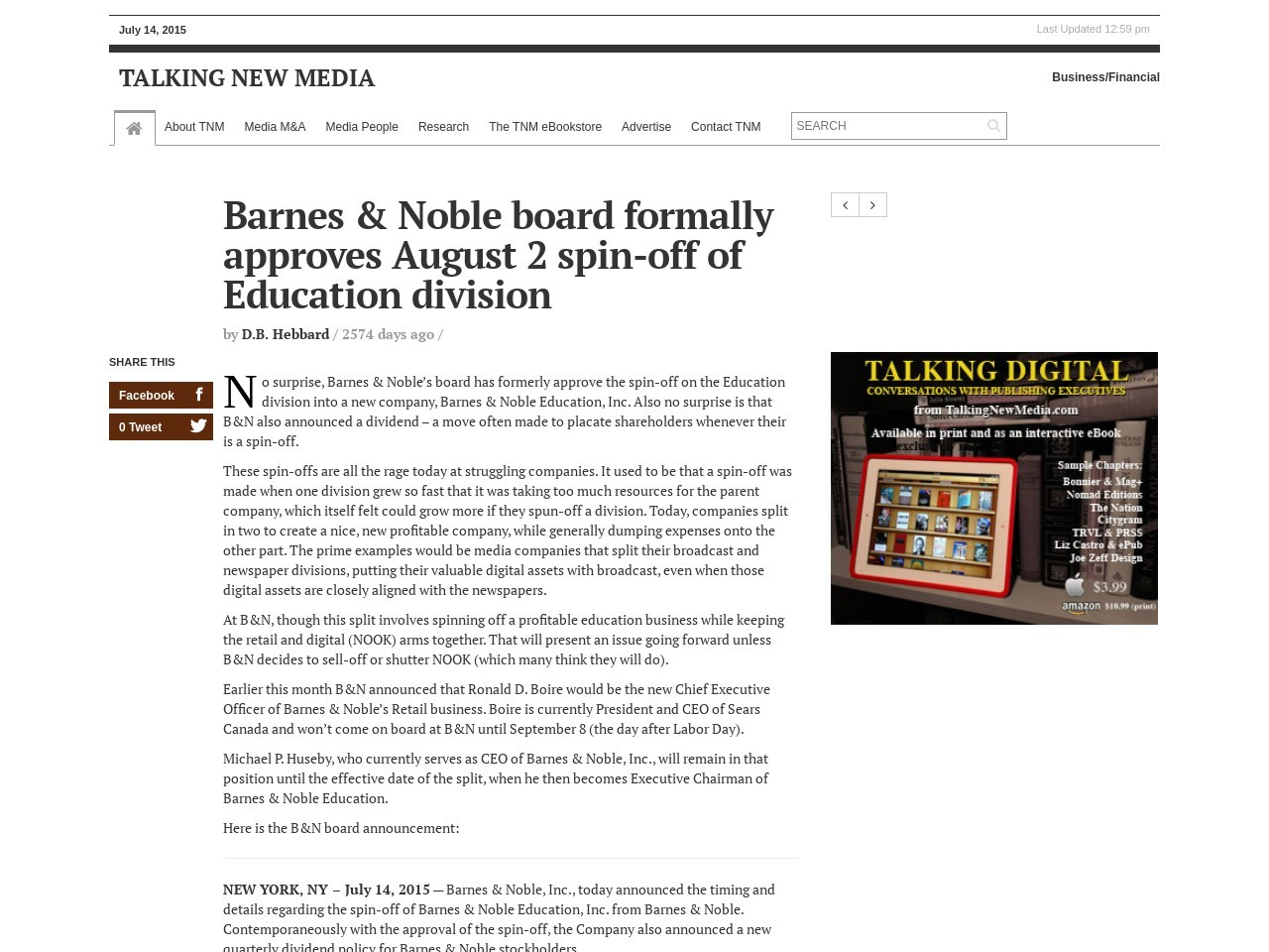 Barnes & Noble board formally approves August 2 spin-off of Education division