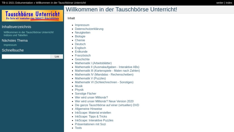 www.tb-u.de Vorschau, Tauschbörse Unterricht