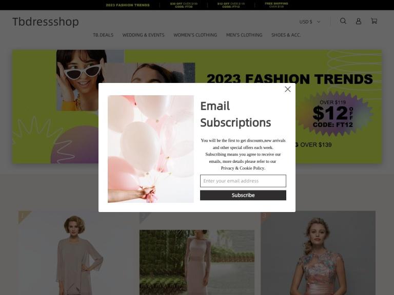 Tbdress.com screenshot