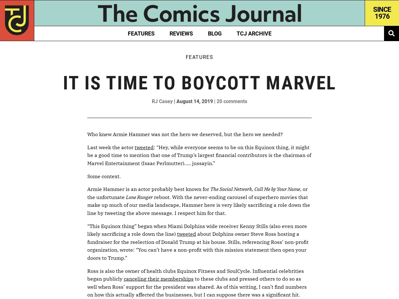 It Is Time To Boycott Marvel