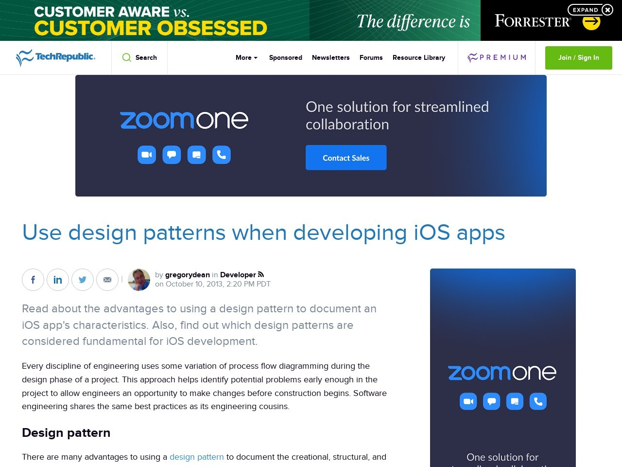 Use design patterns when developing iOS apps