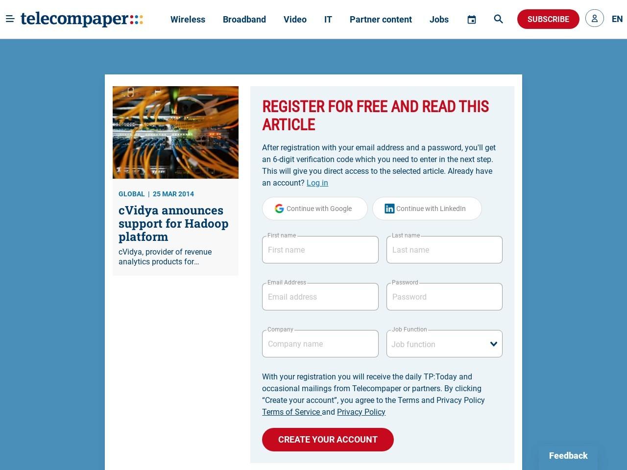 cVidya announces support for Hadoop platform