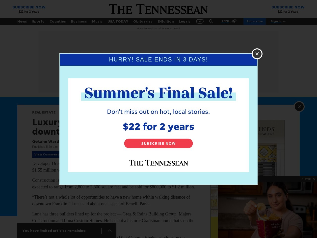 Luxury homes planned near downtown Franklin