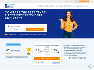 Screenshot for texaselectricityratings.com