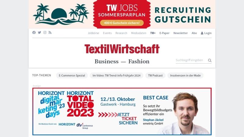 www.textilwirtschaft.de Vorschau, TextilWirtschaft - Deutscher Fachverlag GmbH