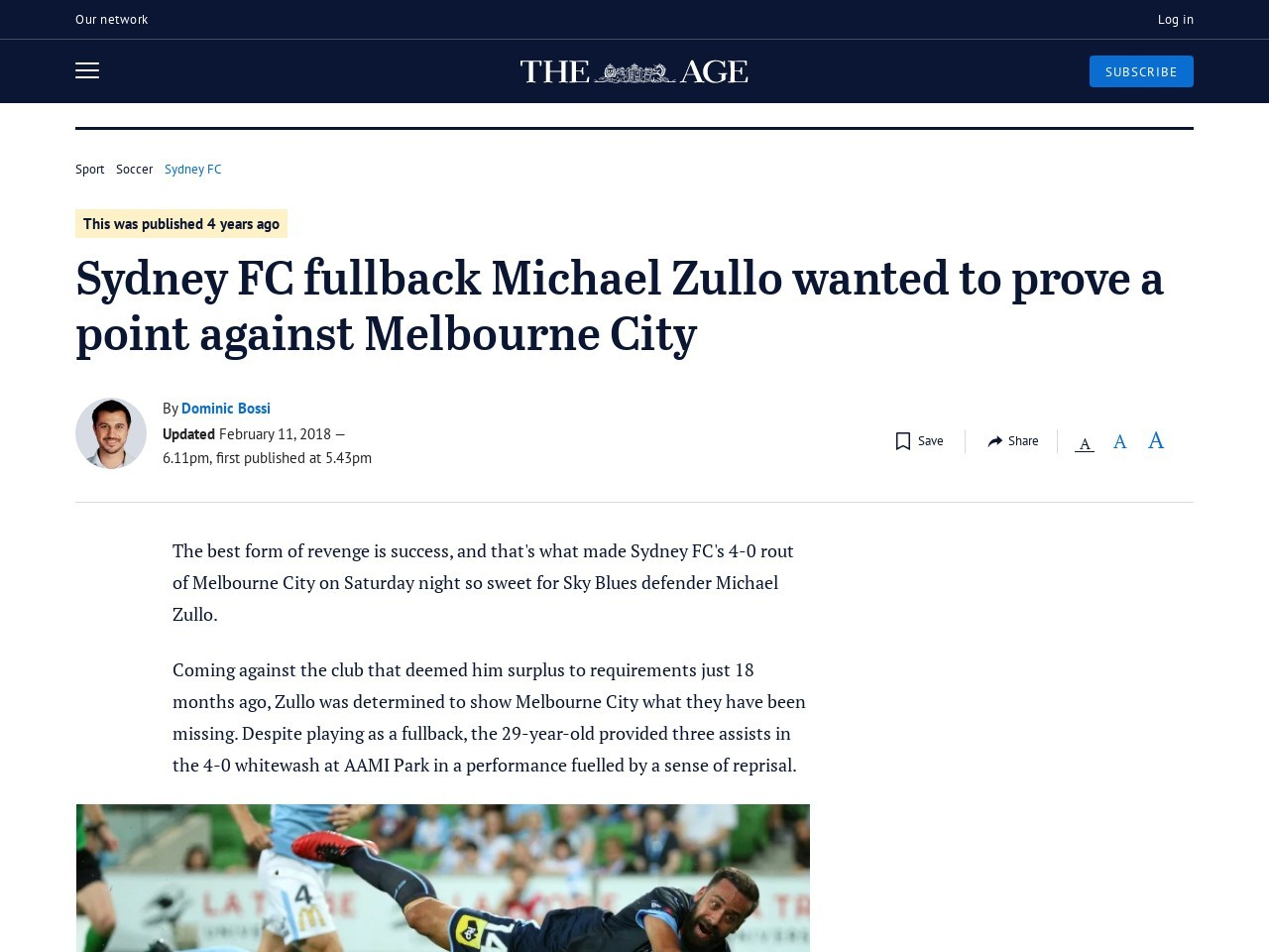 Sydney FC fullback Michael Zullo wanted to prove a point towards…