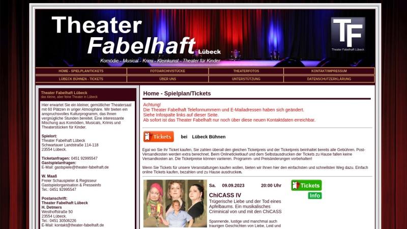 www.theater-fabelhaft.de Vorschau, Theater Fabelhaft Lübeck e.V.