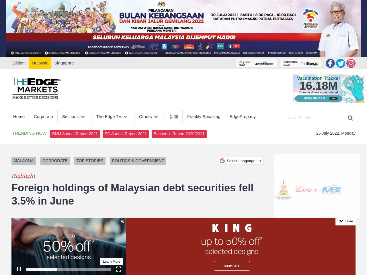 Foreign holdings of Malaysian debt securities fell 3.5% in June