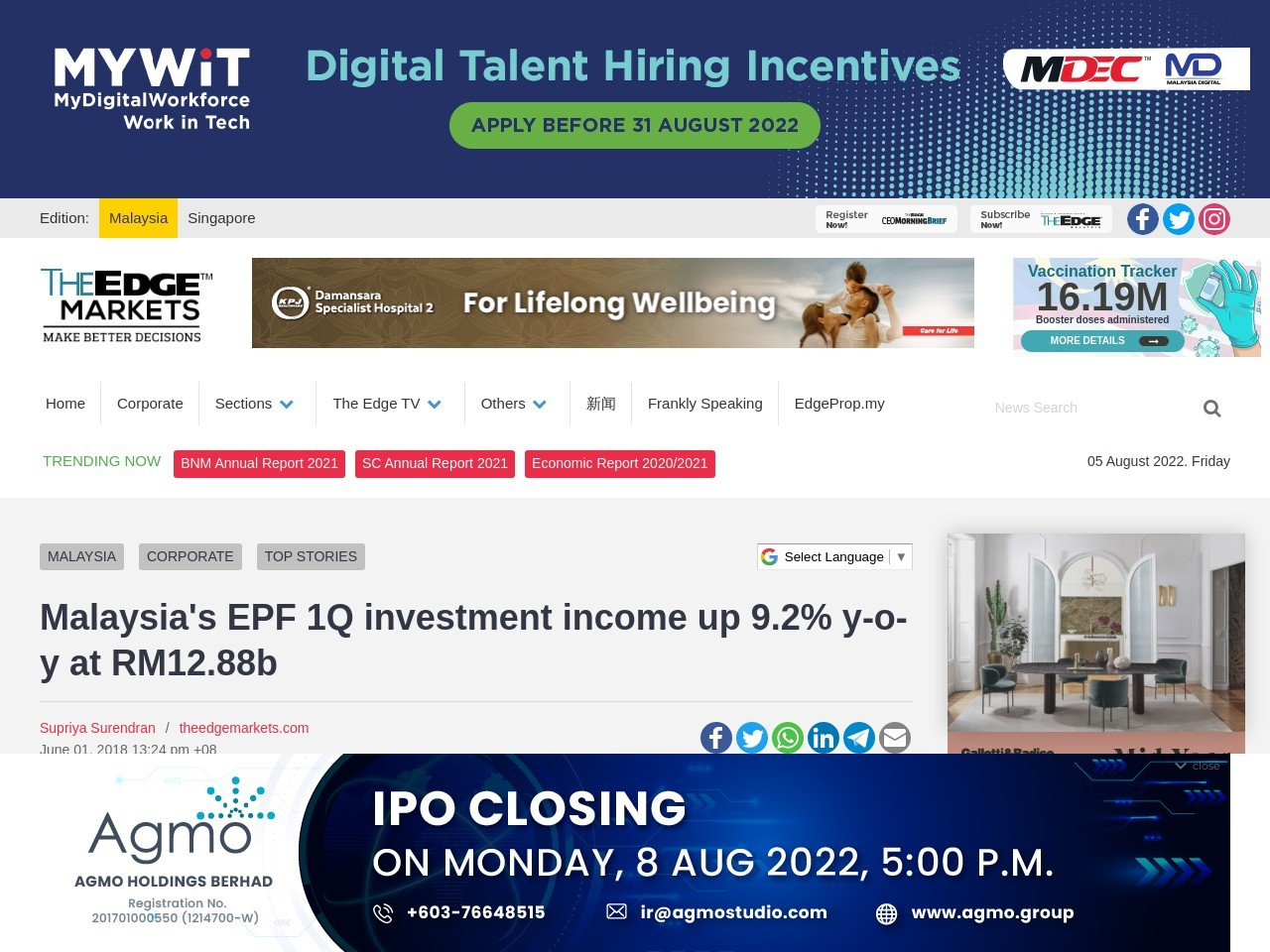 Malaysia's EPF 1Q investment income up 9.2% y-o-y at RM12.88b