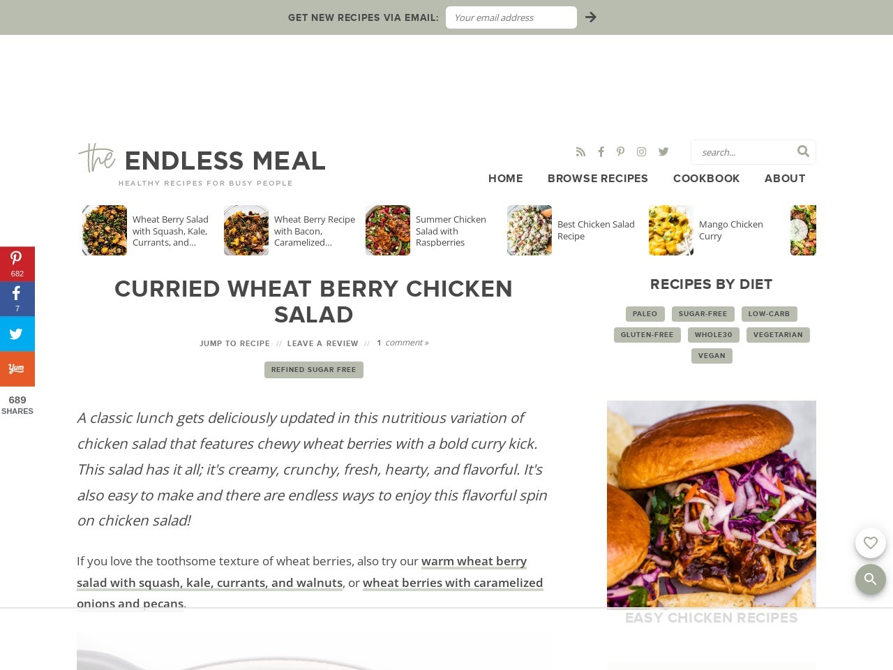 Curried Chicken and Wheat Berry Salad – The Endless Meal