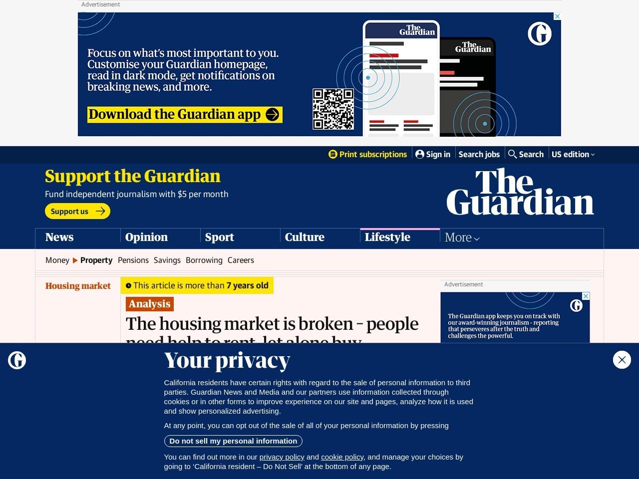 The housing market is broken – people need help to rent, let …