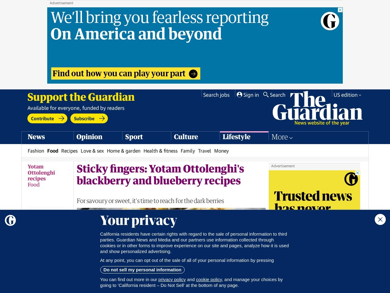 Sticky fingers: Yotam Ottolenghi's blackberry and blueberry …
